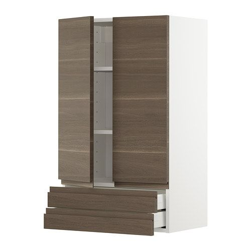 Metod Wall Cabinet W 2 Doors 2 Drawers White Voxtorp Walnut Effect Ikea Ikea Wall Cabinets Ikea Wall Tall Cabinet Storage