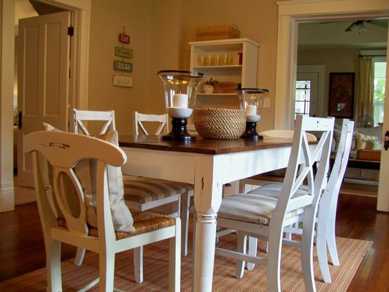 Our Vintage Home Love: A Dining Room Redo With Special Meaning.. love the chairs!! and the room... she built her own table!!!