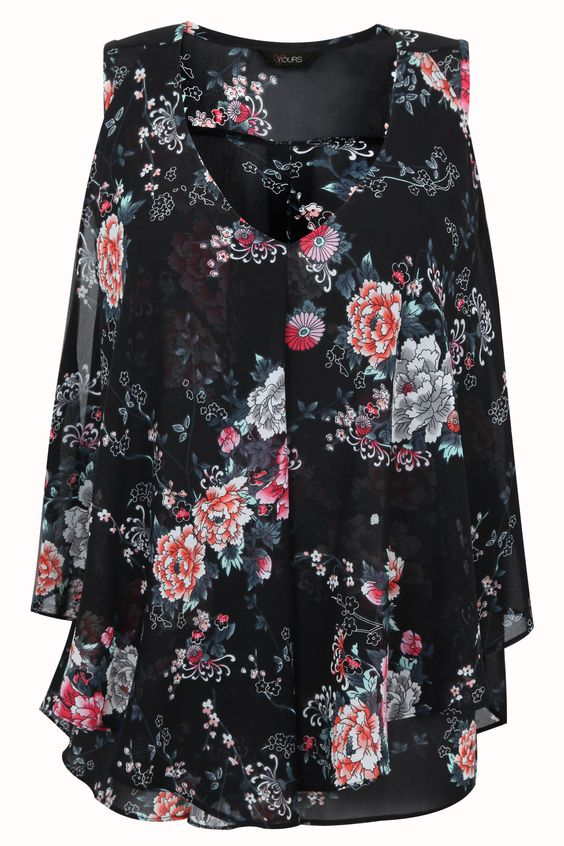 Black Floral Oriental Print Layered Front Sleeveless Blouse Plus size 16,18,20,22,24,26,28,30,32: