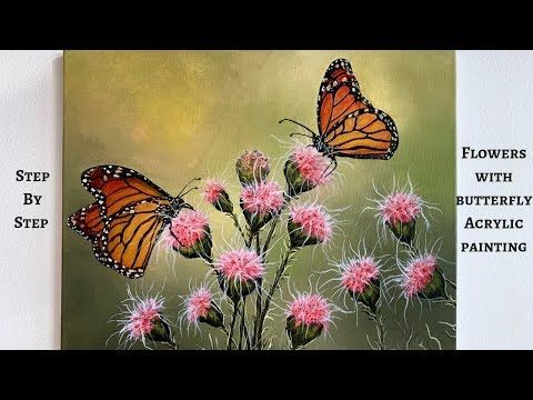 20 Flowers With Butterflies Step By Step Acrylic Painting