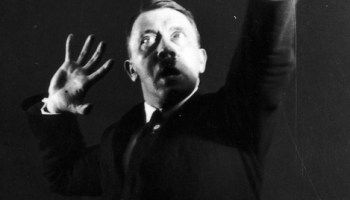 Hitler rehearsing his speech in front of a mirror, 1925