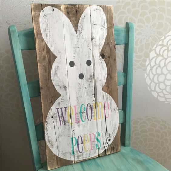 pallet wood 39 welcome peeps 39 easter sign my pallet
