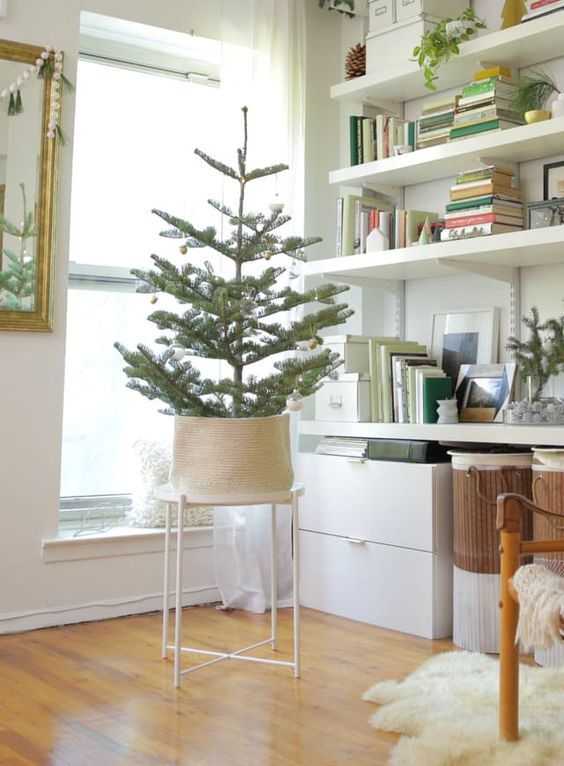 Just because you live in the world's tiniest apartment doesn't mean you don't have room for a Christmas tree (it just might not be the 7-foot giant of your childhood dreams). And to prove it to you, we fit three versions of a small-space tree into this adorable 288-square-foot apartment in Brooklyn. If this place has room for three trees, you certainly have enough space for one.