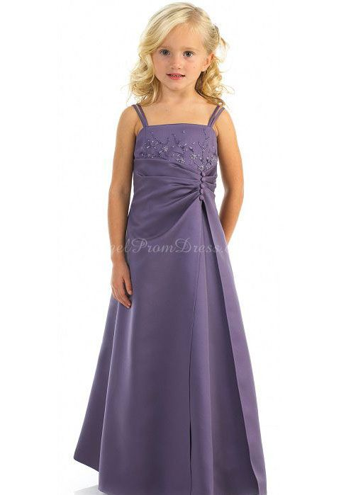 Spaghetti Straps Empire Long Junior Satin Buttons Bridesmaid Dress