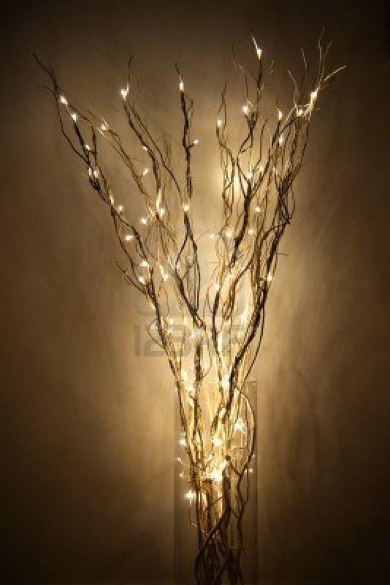 L mpara hecha de braches con luz led en un frasco de - Lamparas para pared ...
