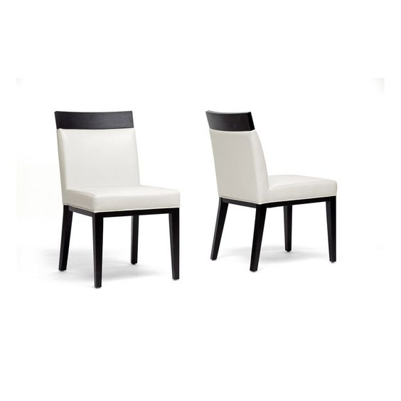 Clymene Black Wood and Cream Leather Modern Dining Chairs, Set of 2