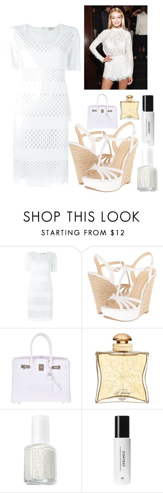 """""""Summer"""" by kotnourka ❤ liked on Polyvore featuring Fendi, Jessica Simpson, Hermès and Essie"""