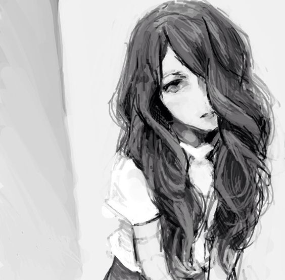 Anime In Black And White: Black And White Anime Girl
