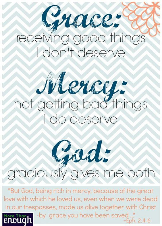 Love this explanation of Grace and Mercy...and how God gives us, who are undeserving, both unreservedly. Ephesians 2:4-6