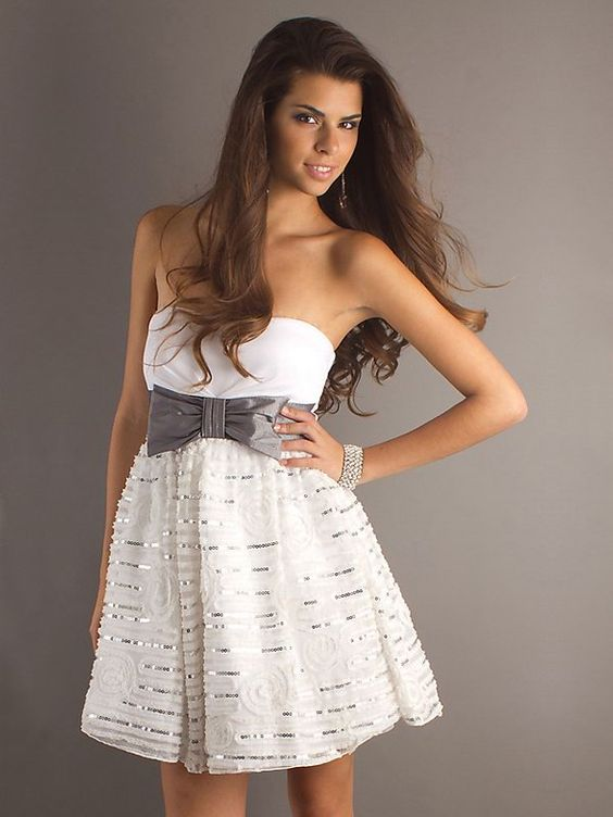 A-line Strapless Bow Short White Cocktail Dress. So cute!