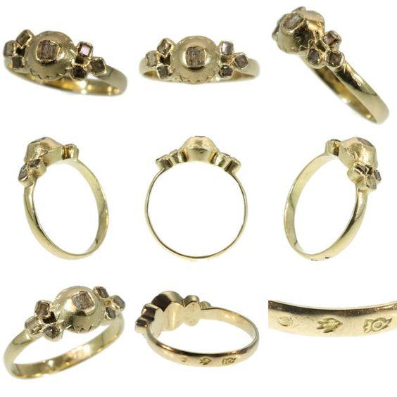 18e eeuw diamanten en gouden ring - Franse antieke ring 18k geel goud, tafel geslepen diamanten c.1750