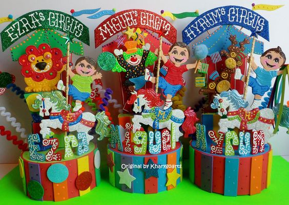 Circus Carnival theme cake topper or party centerpiece original piece by kharygoarts
