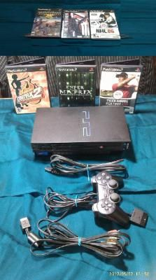 PS2 CONSOLE - CONTROLLER - POWER AND VIDEO PLUG PLUS GAMES!