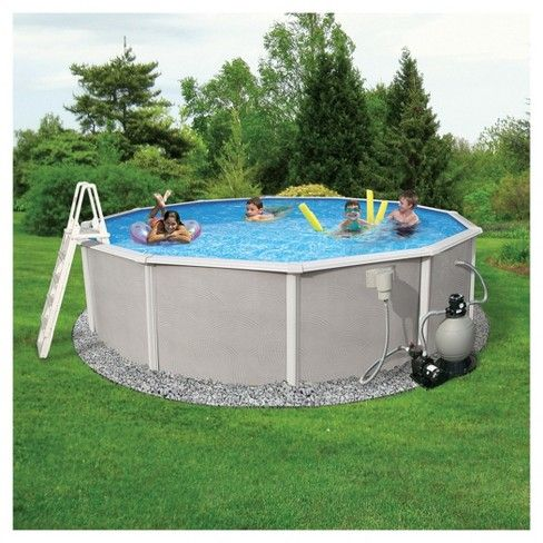 Blue Wave Barcelona Complete 18 Round 52 Deep Metal Wall Pool Package Gray Target In Ground Pools Above Ground Pool Pool