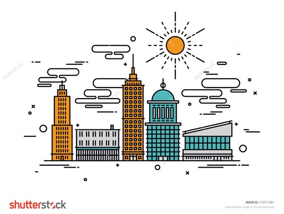 Thin line flat design of business city architecture, commercial building and street facilities, major central district with offices. Modern vector illustration concept, isolated on white background.