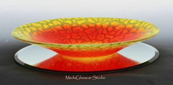 Sorbet Color Fused Glass Bowl by MadaGlasscarStudio on Etsy