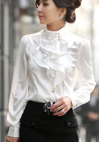 Feminine Victorian Inspired Ivory Ruffles Long Sleeve Blouse: