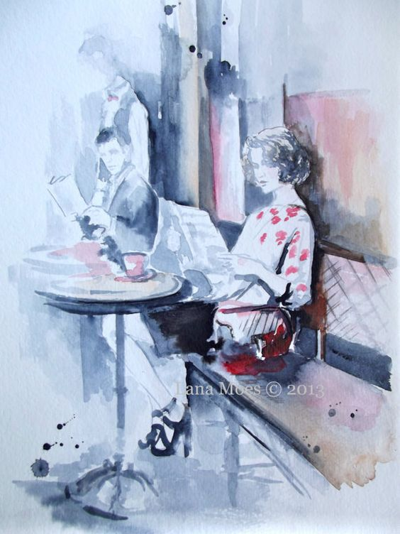 """Love rain romance """" The Cafe de Flore"""" Original Watercolor Painting, contemporary modern wall art illustration abstract home wall decor"""