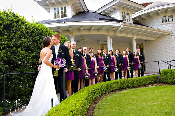 purple bridesmaids' dresses