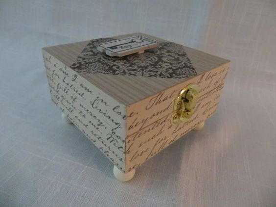 Small decoupage Memory or Keepsake Box. Key to My by MyMemoryBoxes, $25.00