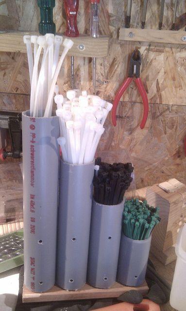 Zip tie storage in pvc pipes: