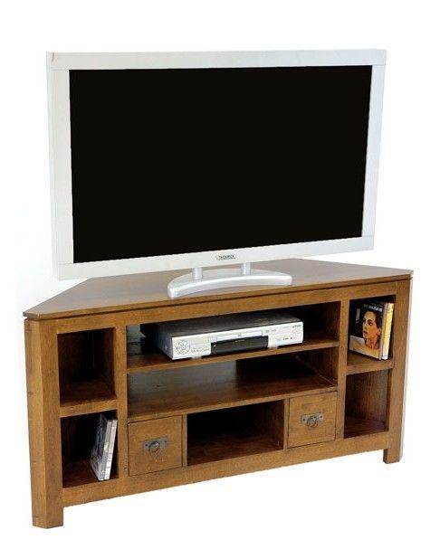 Meuble Tv D Angle Bois Massif Helena Infos Et Dimensions Longueur 127 Cm Profondeur 45 Cm Hauteur 65 Cm Meuble Tv Angle Meuble Tv Meubles En Teck