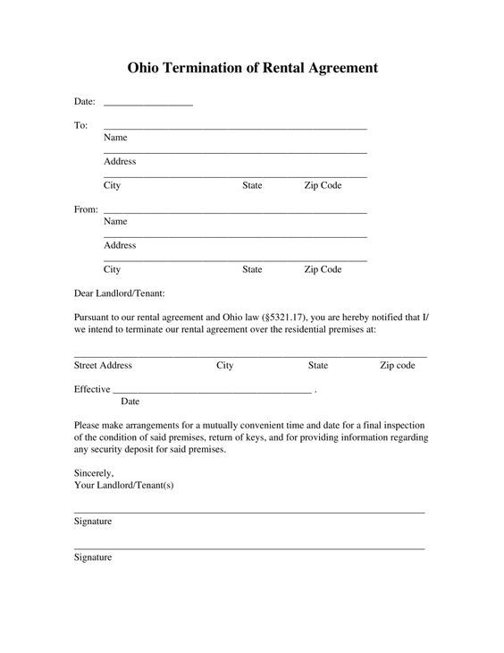 Free Ohio Lease Termination Letter Form  Day Notice  Pdf