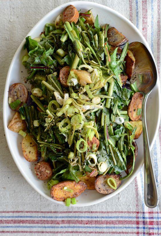 ... more dandelions potato salad warm bacon potatoes salads spring green