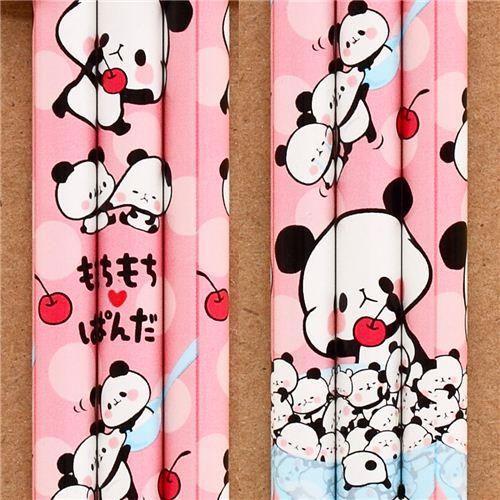 pink Kamio Mochi panda animal pencil with charm