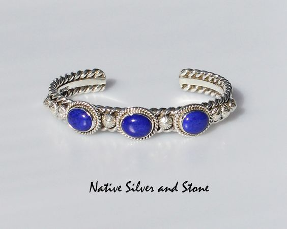 Artie Yellowhorse - Navajo Jewelry. Sterling silver handmade cuff bracelet.  Three Lapis Ovals with silver accents. Size 6-1/4 (Small-Medium) from Native Silver and Stone