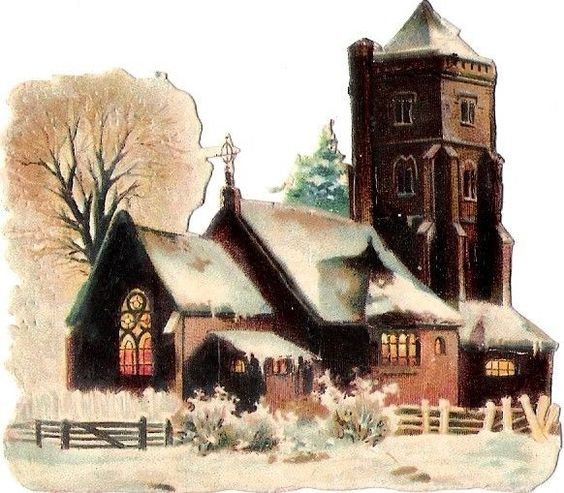 Oblaten Glanzbild scrap die cut chromo Winter Kirche Schnee church snow: