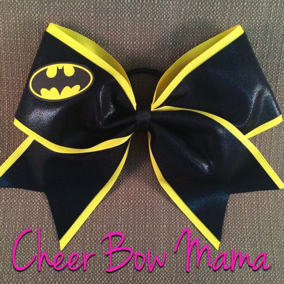 Cheer Bow made with Batman symbol by CheerBowMama on Etsy https://www.etsy.com/listing/157324117/cheer-bow-made-with-batman-symbol