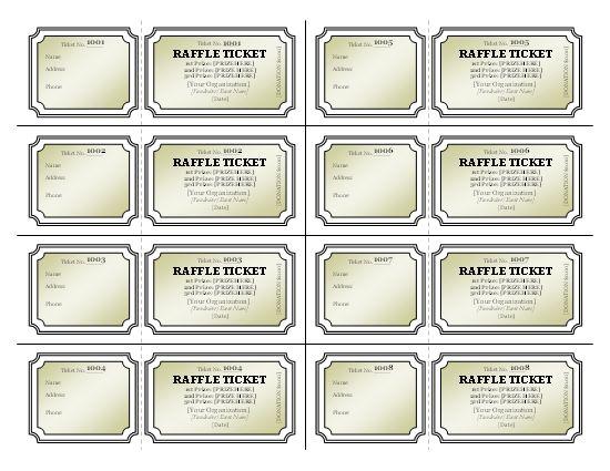 raffle ticket sheets