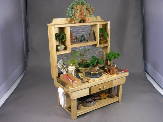 Miniature 1/12 Scale Wooden Bonsai Bench. by JORGESMINIATURES