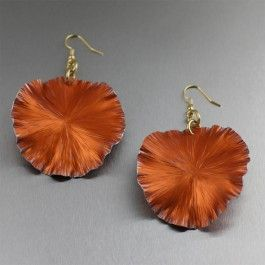 Orange Anodized Aluminum Lily Pad Earrings - Large