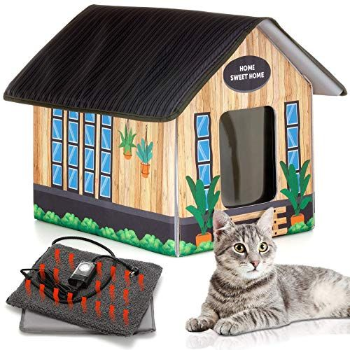 Petyella Outdoor Cat House Feral Cat Shelter Heated Easy To Assemble Cat Houses For Outdoor Cats Feral Cat Shelter Cat Shelter Outdoor Cat House