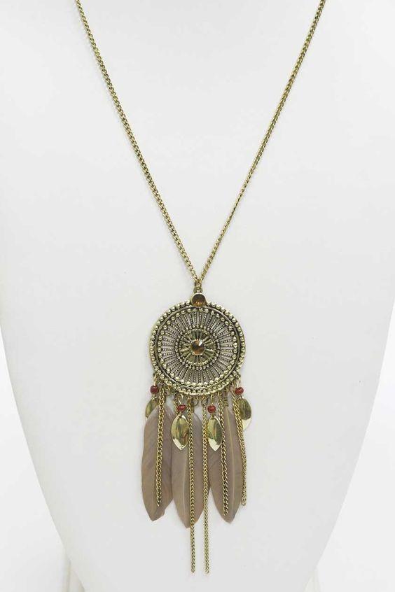 Bijoux Fantaisie Jewelry : Collier sautoir indi chic plumes et m?tal vieilli un
