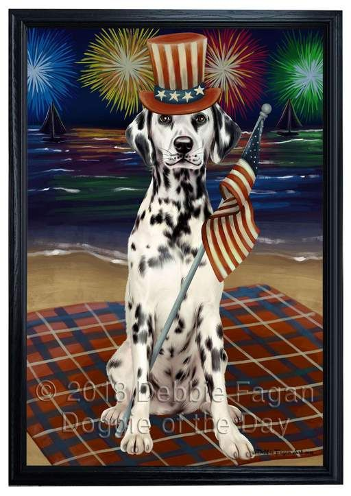 4th Of July Independence Day Firework Dalmatian Dog Framed Canvas