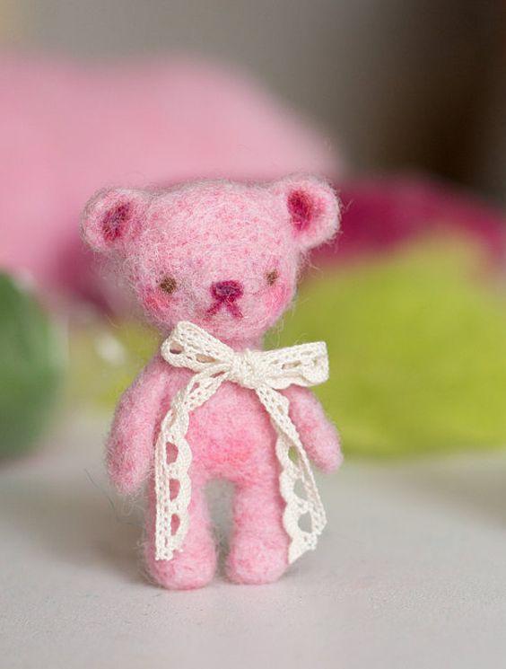 Teddy bear pink of felt. For Blythe Pullip Monster by MissDrumu