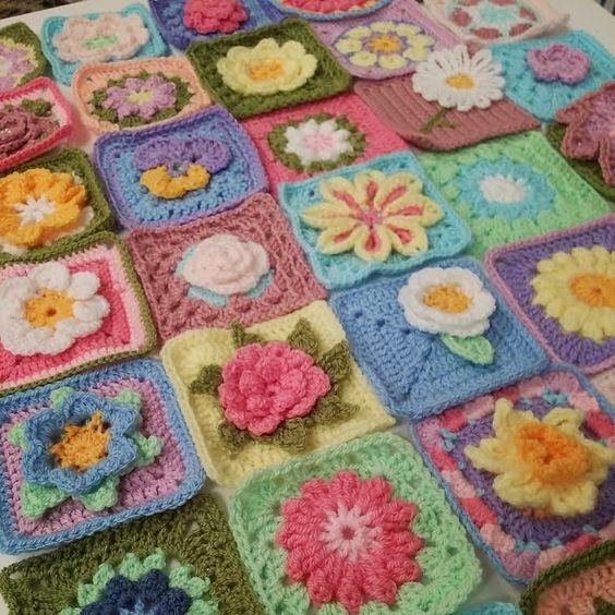 The Patchwork Hearts Community blanket squares all ready to sew together...