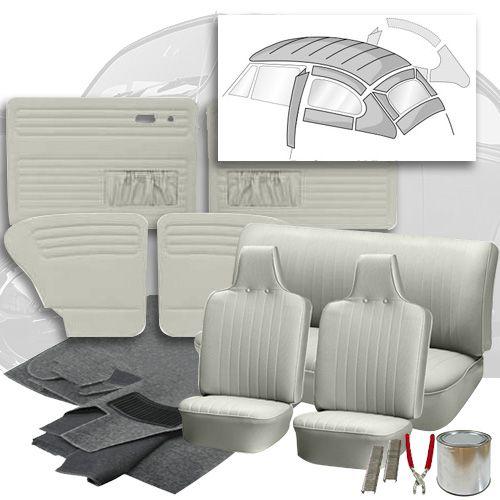 1970 1972 Vw Beetle Sedan Basketweave Vinyl Interior Kit In 2020 Interior Beetle Seating