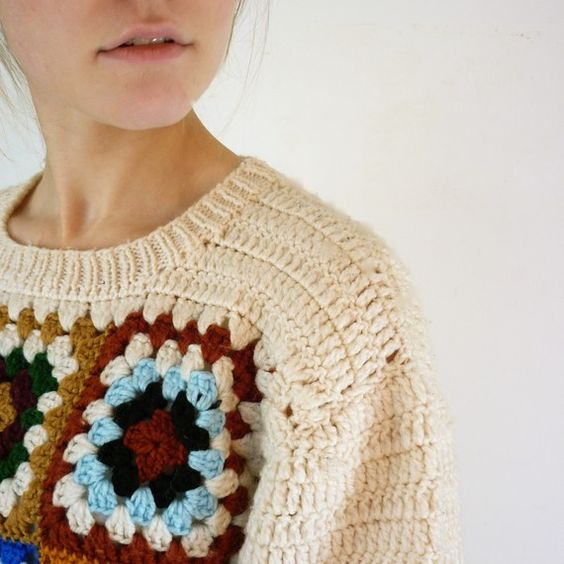 Crochet Patterns For Granny Square Sweaters : Granny squares, Granny square sweater and Vintage sweaters ...