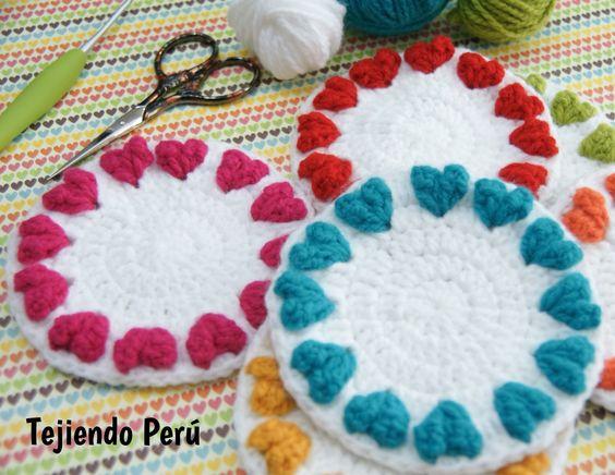 Resultado de imagen de posavasos corazón tejiendo perú