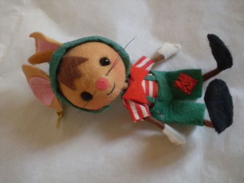 Vintage Japan Santa Mouse Elf Felt Christmas Tree Ornament | eBay