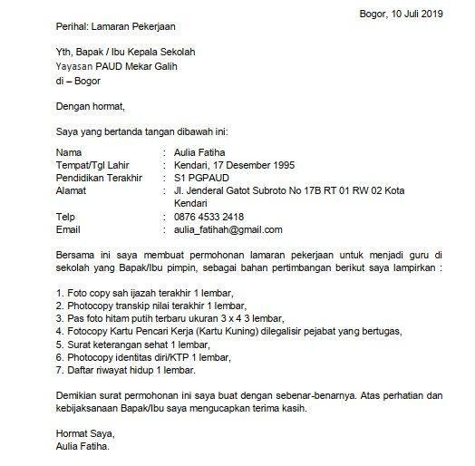 1 Contoh Surat Lamaran Kerja Guru Paud Umum Guru Surat Kepala Sekolah