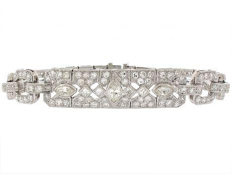 Art Deco Diamond Bracelet in Platinum from Beladora