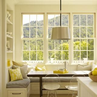 Breakfast nook with yellow, gray, and a view