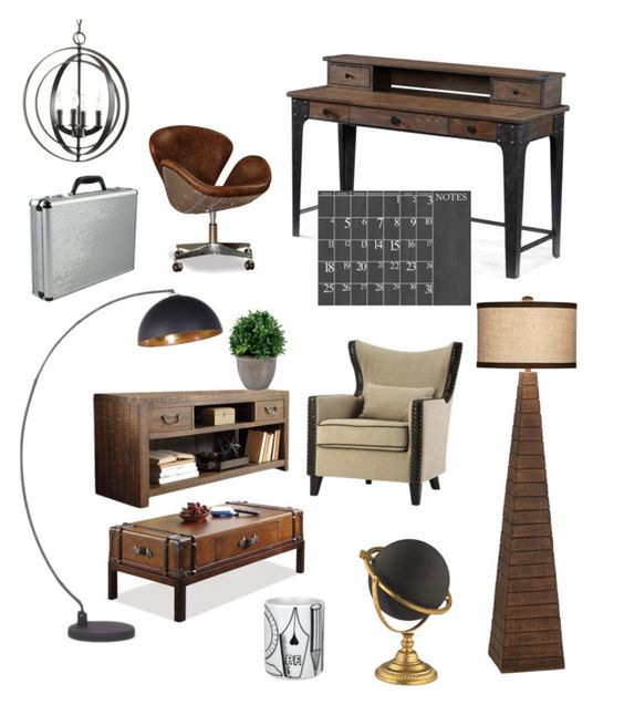 """""""Home Office"""" by silverlime2013 on Polyvore featuring interior, interiors, interior design, home, home decor, interior decorating, Magnussen Home, Universal Lighting and Decor, Home Decorators Collection and Thos. Baker"""