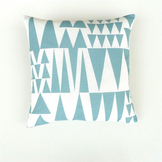 Large Blue and White Geometric Scandinavian Linen / by OnHighat5