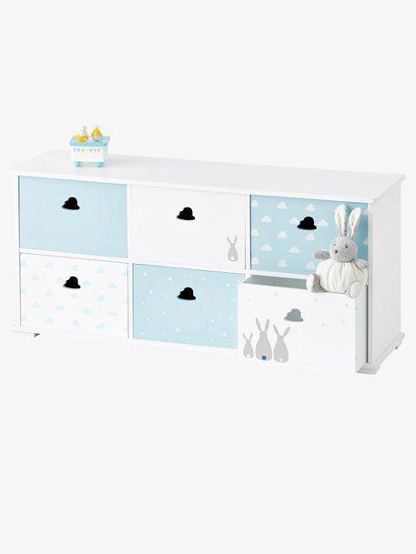 Meuble 6 Bacs Lapins Blanc Bleu 1 Vertbaudet 100 120 Meuble Rangement Rangement Chambre Enfant Rangement
